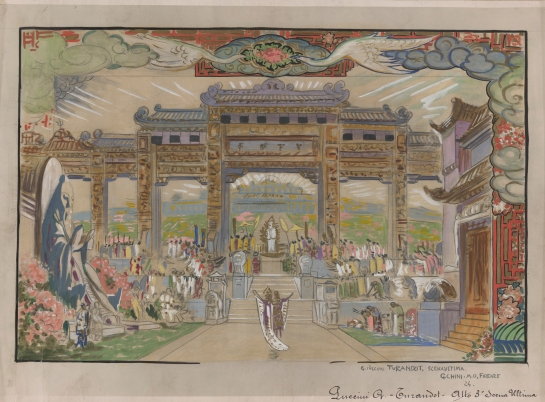 Set design for Puccini's Turandot by Galileo Chini. Image from Library of Congress.