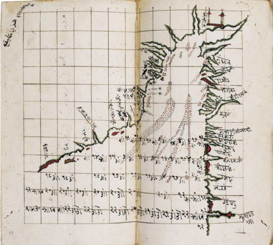 Gujarati map of the Gulf of Cambay, India. North is at the top. The stitching used to bind it into the scrapbook where it is now found runs down the middle along the fold. (St John's College, Oxford.)