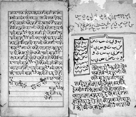 Gujarati pilot's manual. Folio 25b, on the right, includes the Arabic alphabet with abjad numerical values, two diagrams for talismanic tablets, and instructions on making a protective talisman to attach to a vessel. Folio 26a, on the left, gives instructions for sailing to Surat. The diagram below the text gives the depth soundings for the approach into Surat. (St John's College, Oxford.)